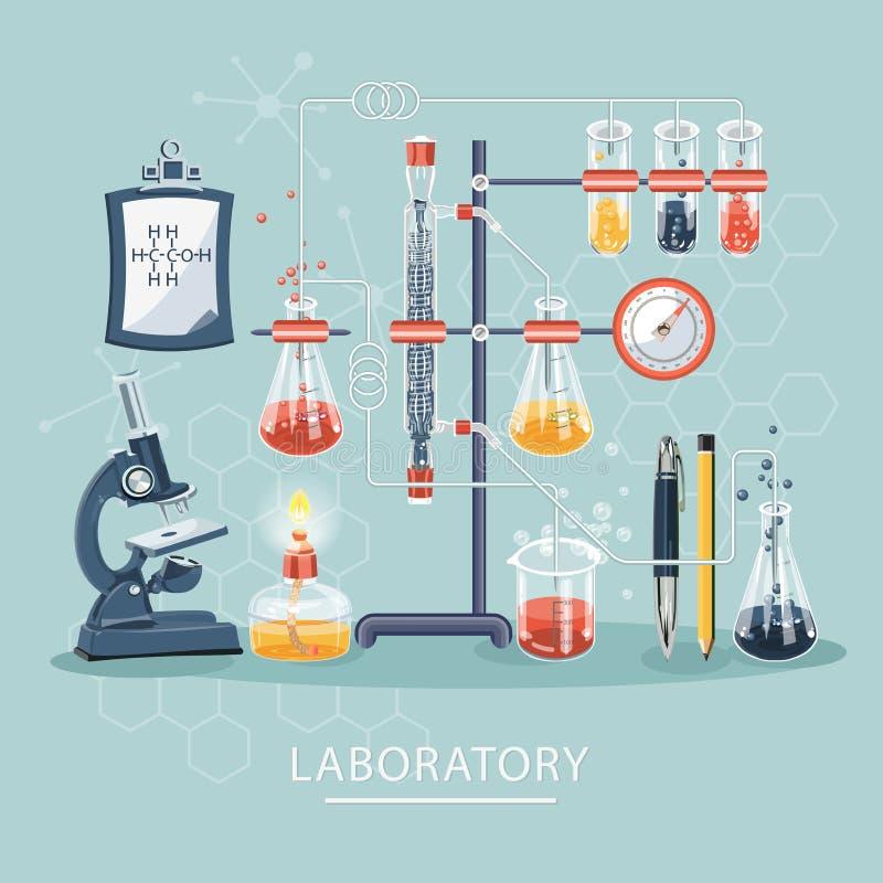 Chemie und Wissenschaft infographic Ausrüstung und Hilfsmittel des wissenschaftlichen Labors für Experimente und Forschung Chemie vektor abbildung