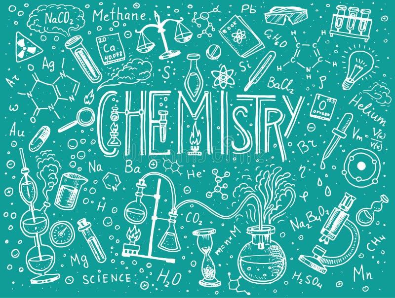Chemie van pictogrammenreeks Bord met elementen, formules, atoom, test-buis en laboratoriummateriaal Laboratorium royalty-vrije illustratie