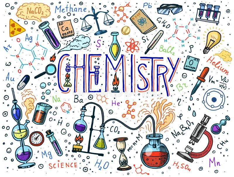 Chemie van pictogrammenreeks Bord met elementen, formules, atoom, test-buis en laboratoriummateriaal Laboratorium vector illustratie