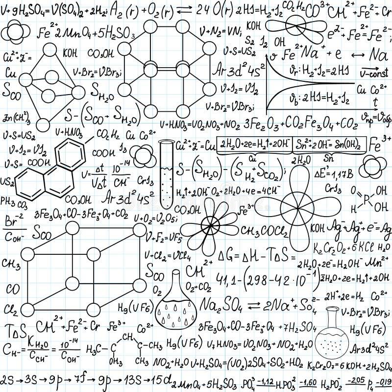 Chemie vector naadloos patroon met percelen, formules en laboratoriummateriaal, met de hand geschreven op het voorbeeldenboekdocu royalty-vrije illustratie