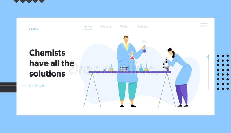 Chemie-Wissenschaftler, die Experiment im Wissenschafts-Labor, Mann hält Flaschen-Frauen-Techniker Look leiten vektor abbildung