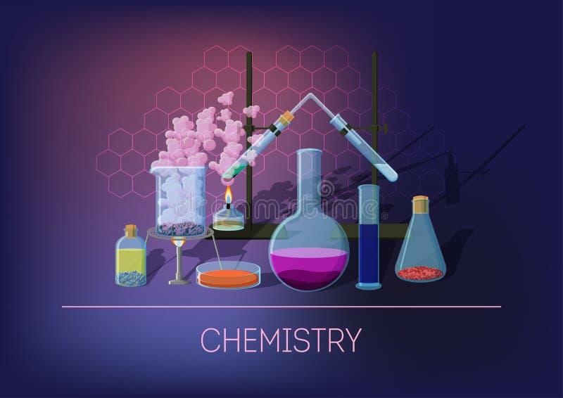Chemieconcept met chemisch materiaal en glaswerk, lopend experiment en chemische reacties royalty-vrije illustratie