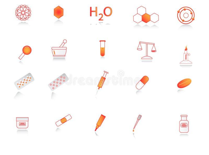 Chemieikonen stock abbildung