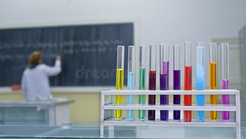 Chemieklassenzimmer stockfotografie