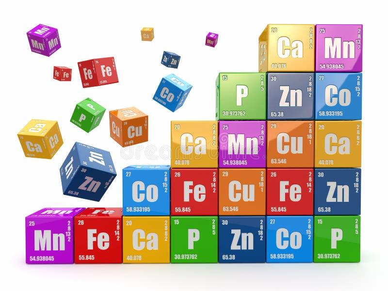 Chemiekonzept. Ummauern Sie von Würfel wiyh Periodensystem von elemen lizenzfreie abbildung