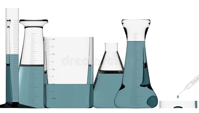 Chemielaboratorium, studie en analyse, biologie Containers met vloeistoffen, tests en studies royalty-vrije illustratie