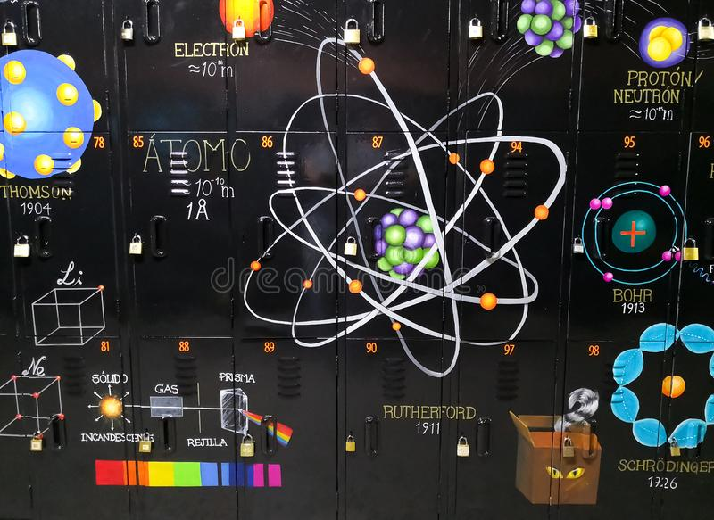 Chemiemuurschildering Atoommodellen en delen van een atoom stock afbeelding