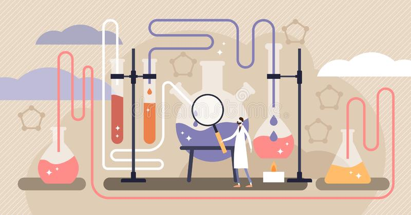 Chemievektorillustration Flaches Miniwissenschaftsforschungs-Personenkonzept stock abbildung