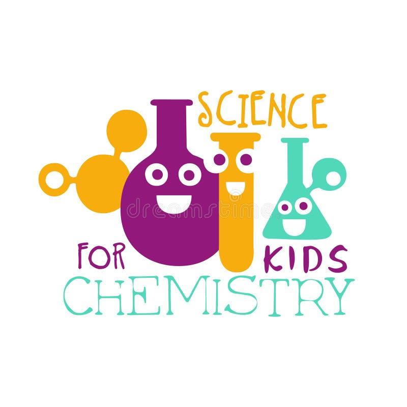 Chemiewetenschap voor het symbool van het jonge geitjesembleem Kleurrijk hand getrokken etiket royalty-vrije illustratie