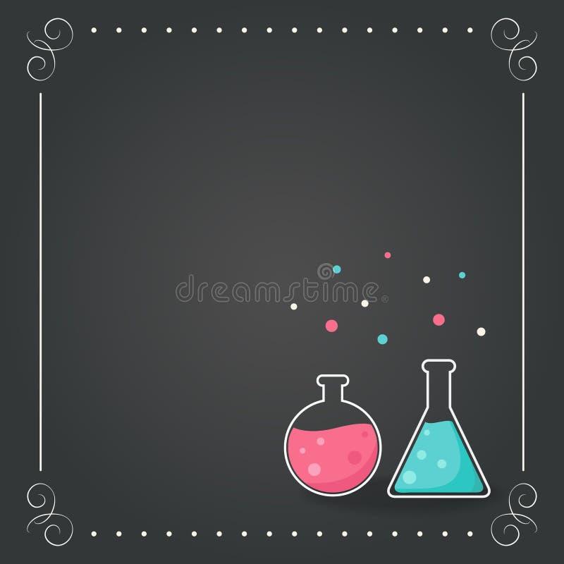 Chemii butelki na Chalkboard tle Szkoła, nauka, chemii pojęcie royalty ilustracja