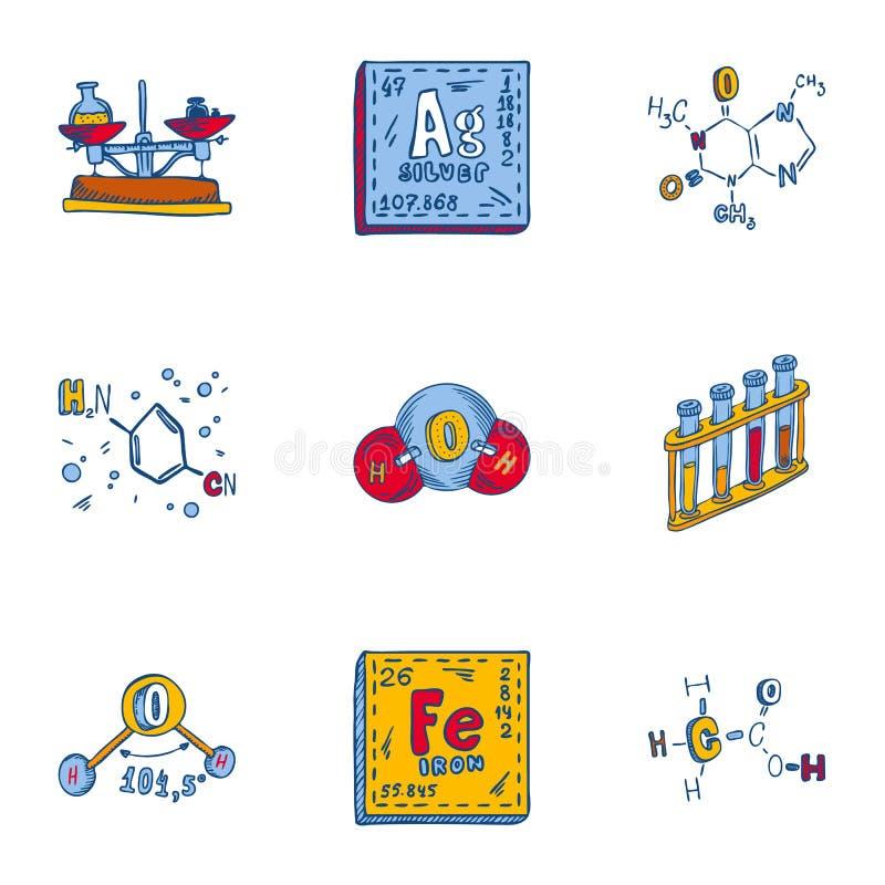 Chemii formuły ikony set, ręka rysujący styl ilustracja wektor