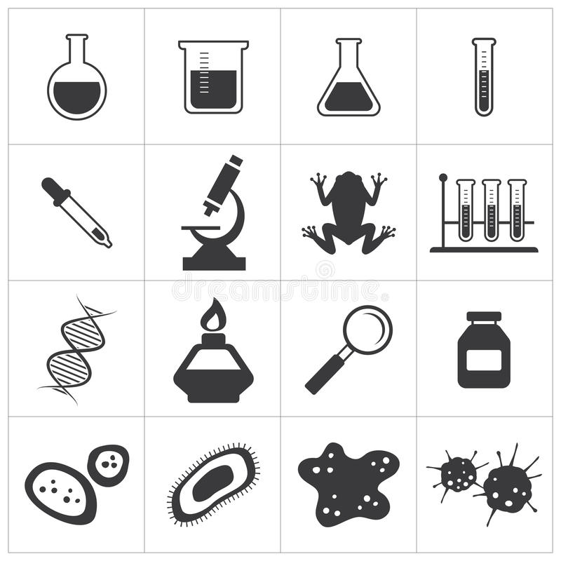 Chemii i biologii ikony set royalty ilustracja