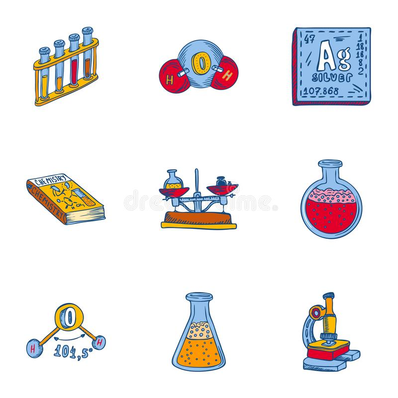 Chemii ikony narzędziowy set, ręka rysujący styl royalty ilustracja