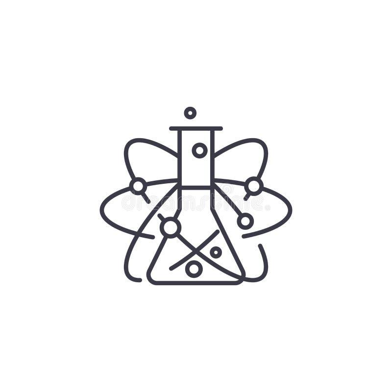 Chemii ikony podległy liniowy pojęcie Chemia tematu linii wektoru znak, symbol, ilustracja ilustracja wektor