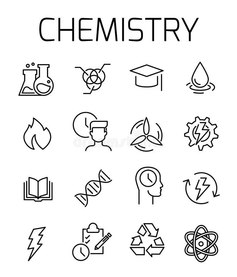 Chemii ikony powiązany wektorowy set ilustracja wektor