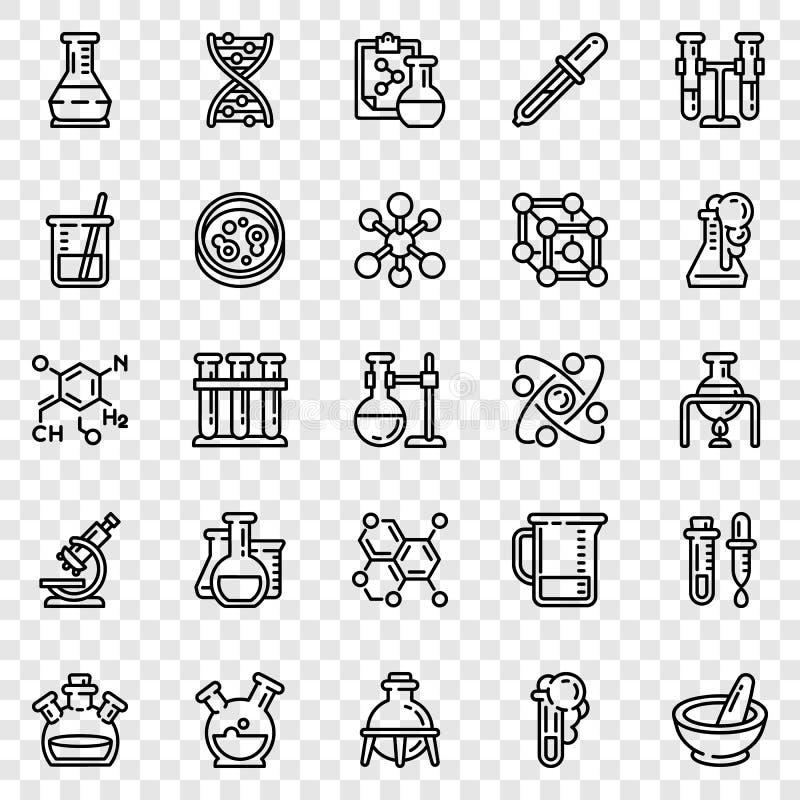 Chemii ikony set, konturu styl ilustracji