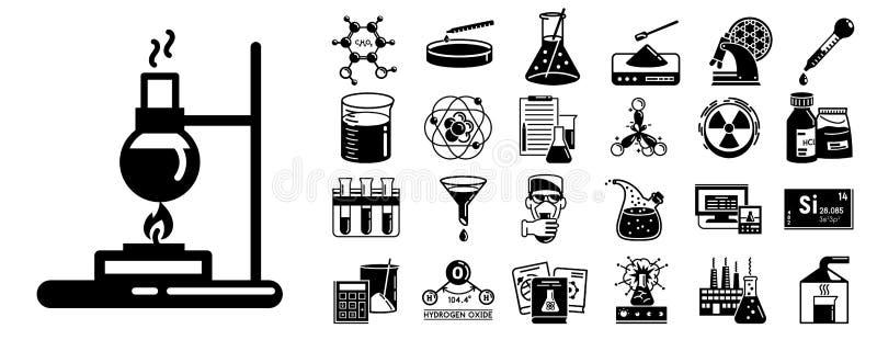 Chemii ikony set, prosty styl royalty ilustracja