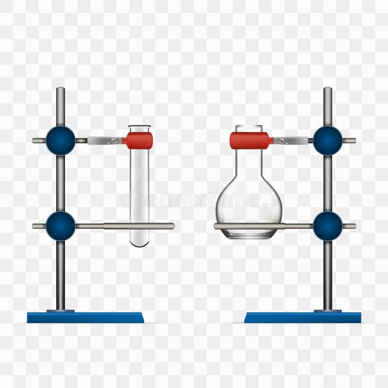 Chemii Lab kolby I tubka chwyta stojaka właściciel ilustracji