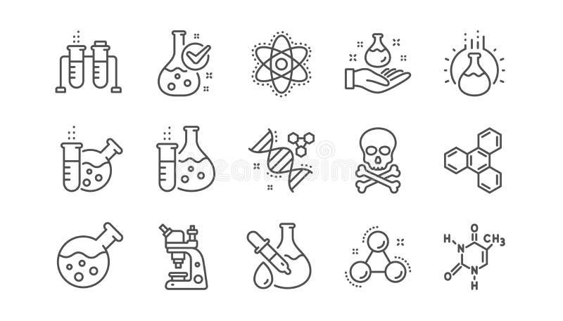 Chemii lab linii ikony Chemiczna formu?a, mikroskop i Medyczna analiza, Liniowy set wektor ilustracja wektor