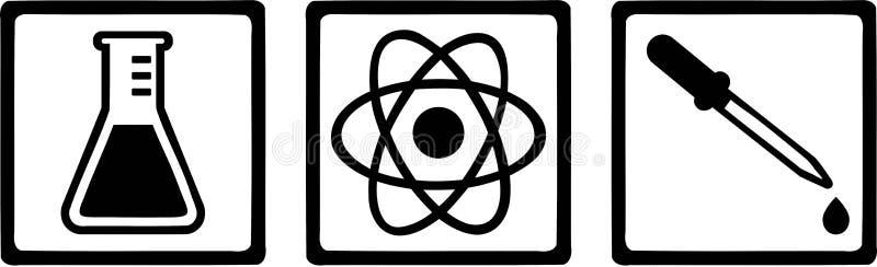 Chemii laboratorium ikony ilustracja wektor