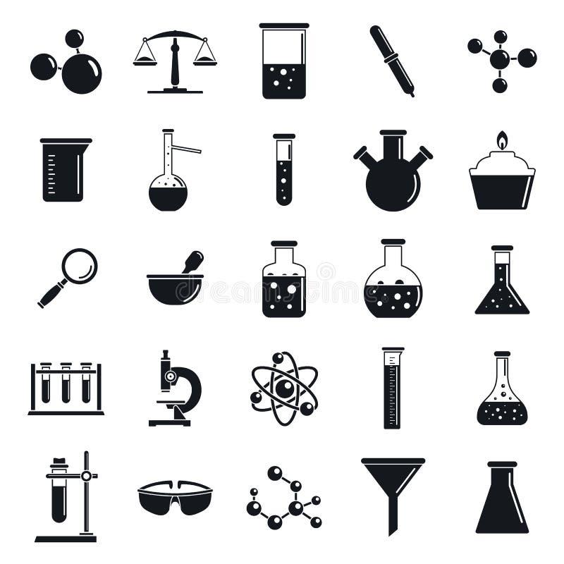 Chemii laboratorium ikony set, prosty styl ilustracja wektor