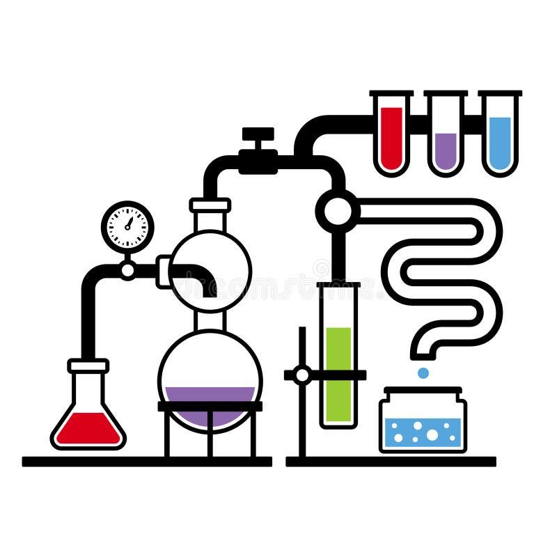 Chemii laboratorium Infographic Ustawia 3 royalty ilustracja