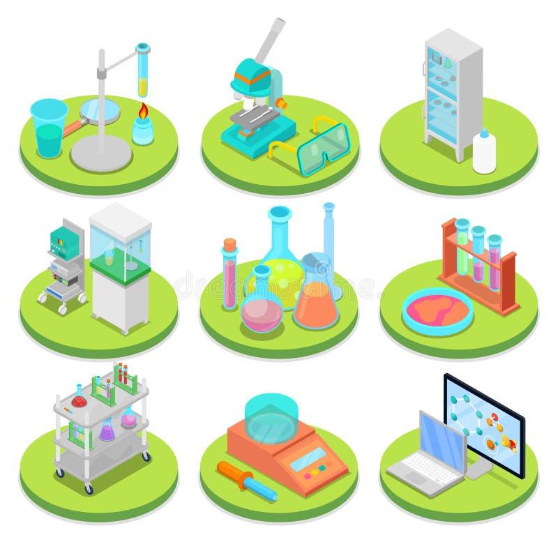 Chemii laboratorium naukowe Isometric Farmaceutyka, badanie eksperyment, Chemiczna technologia ilustracji