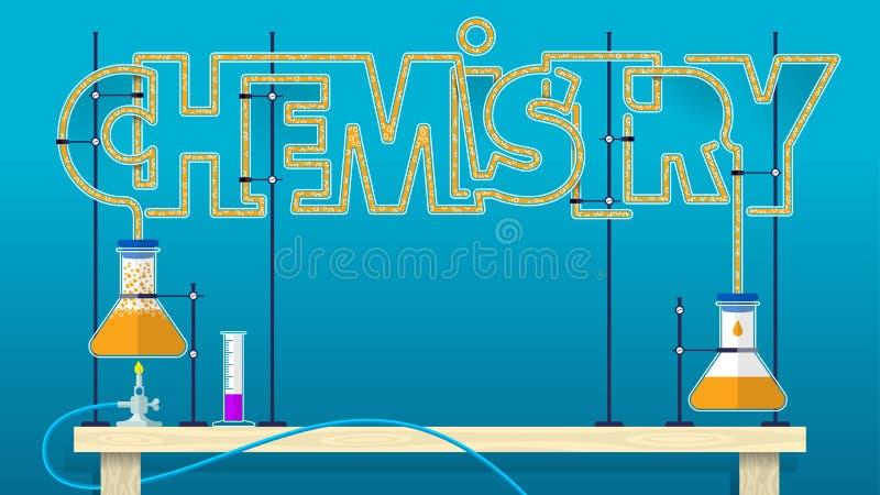 CHEMII literowanie Chemiczni słowo listy tworzyli szklanymi tubkami z pomarańcze gulgocze ciecz łączy dwa szklanej kolby ilustracji
