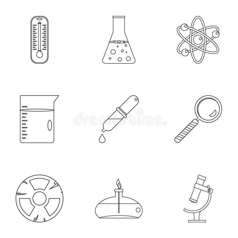 Chemii nauki ikony set, konturu styl ilustracja wektor