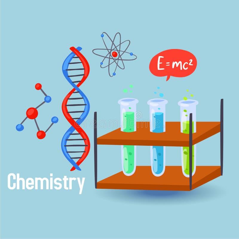 Chemii nauki wektoru ilustracja Projektuje elementy chemiczne kolbiaste zlewki, DNA molekuły, atomy, chemic formuła royalty ilustracja