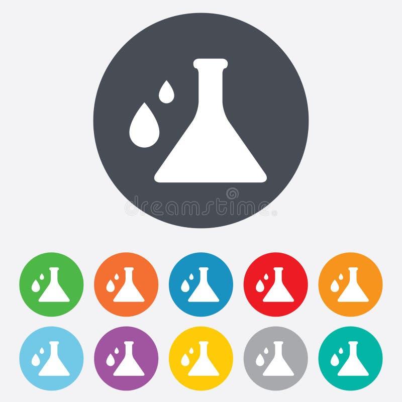 Chemii szyldowa ikona. Żarówka symbol z kroplami. ilustracji