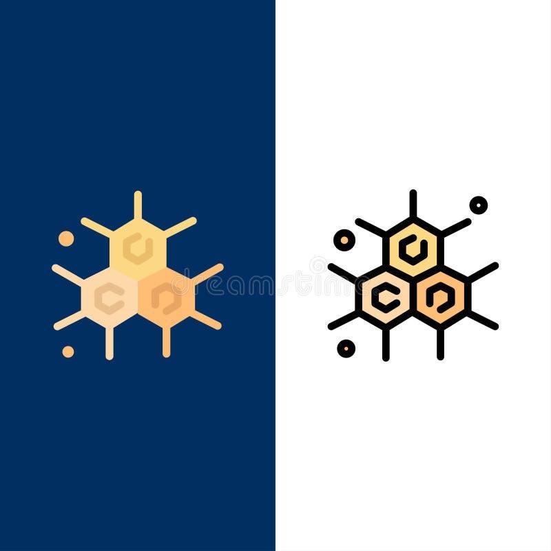 Chemik, Cząsteczkowy, nauk ikony Mieszkanie i linia Wypełniający ikony Ustalony Wektorowy Błękitny tło ilustracja wektor
