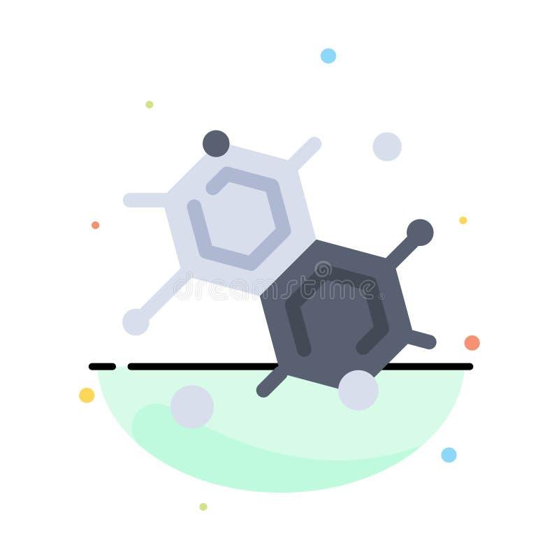 Chemik, Cząsteczkowy, nauka koloru ikony Abstrakcjonistyczny Płaski szablon royalty ilustracja