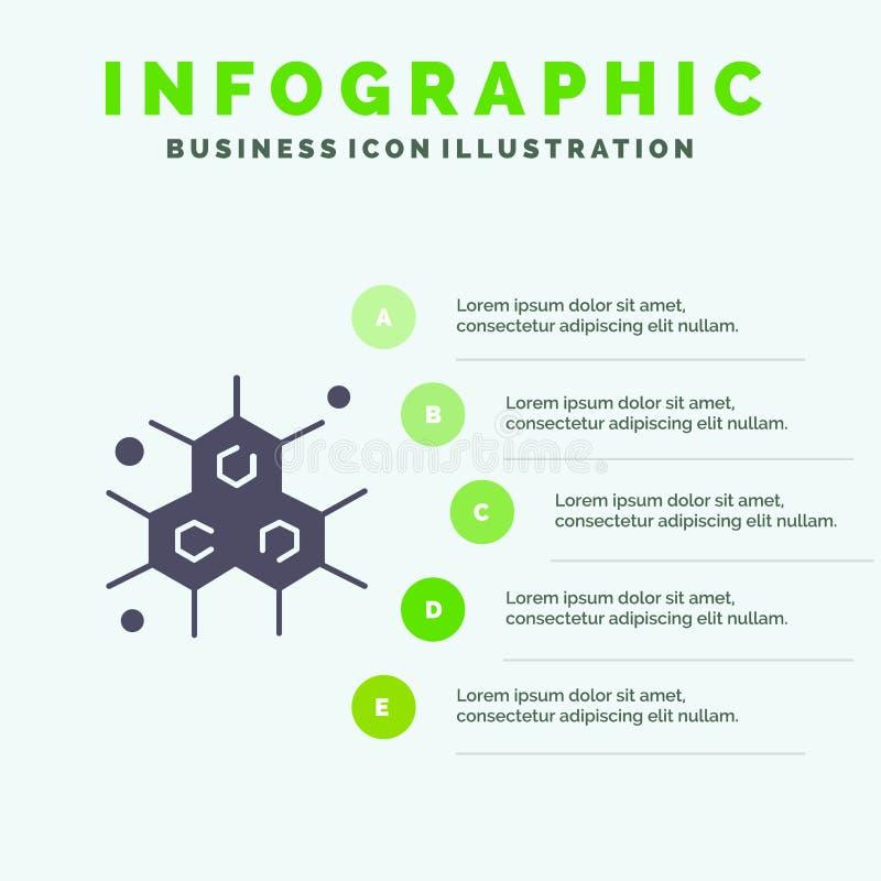 Chemik, Cząsteczkowy, nauki ikony Infographics 5 kroków prezentacji Stały tło royalty ilustracja