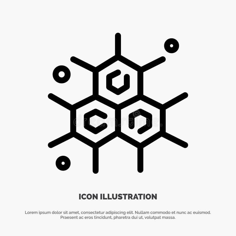 Chemik, Cząsteczkowy, nauki ikony Kreskowy wektor ilustracji