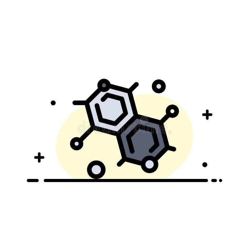 Chemik, Cząsteczkowy, nauki mieszkania ikony sztandaru Biznesowa linia Wypełniający Wektorowy szablon ilustracja wektor