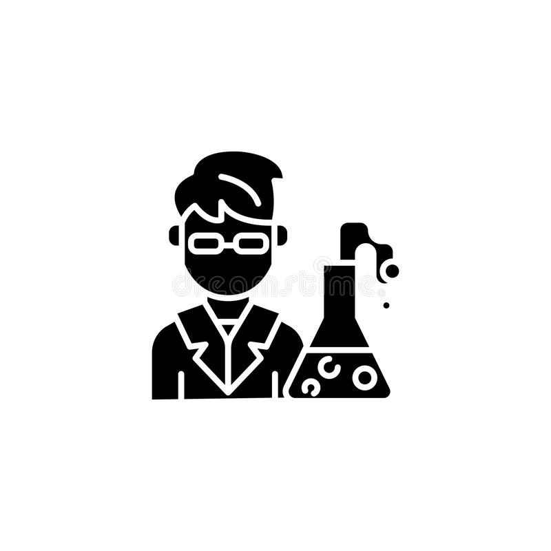 Chemik ikony czarny pojęcie Chemika płaski wektorowy symbol, znak, ilustracja ilustracja wektor