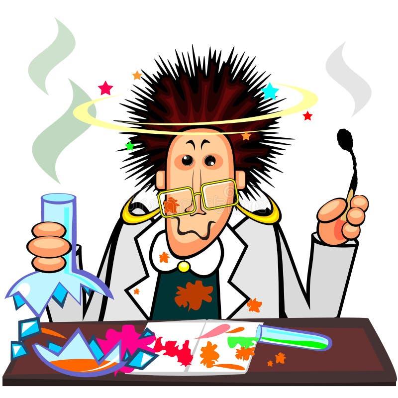 chemik szalenie ilustracja wektor