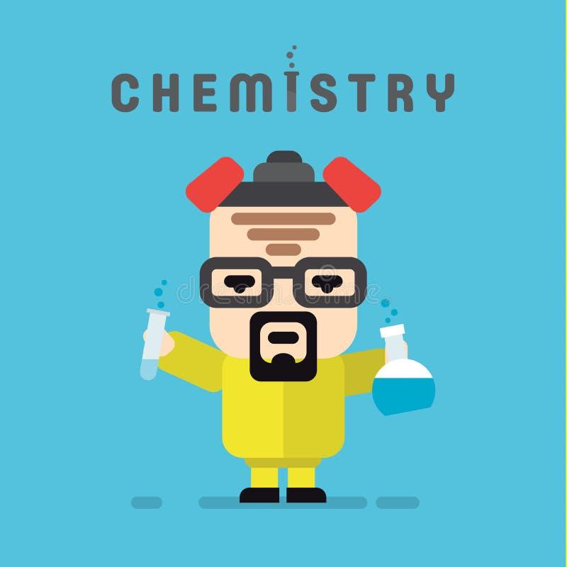 Chemika żółty kostium z respiratorem, chemia ilustracja wektor