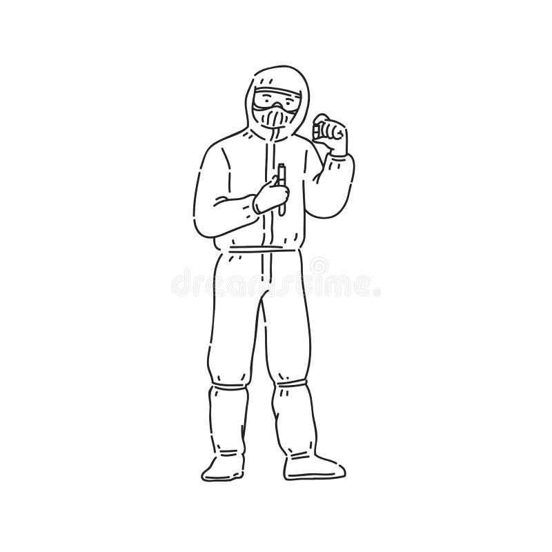 Chemika mężczyzna w fachowym ochrona mundurze Kreskowej sztuki stylu charakteru wektorowa czarna bia?a odosobniona ilustracja ilustracji