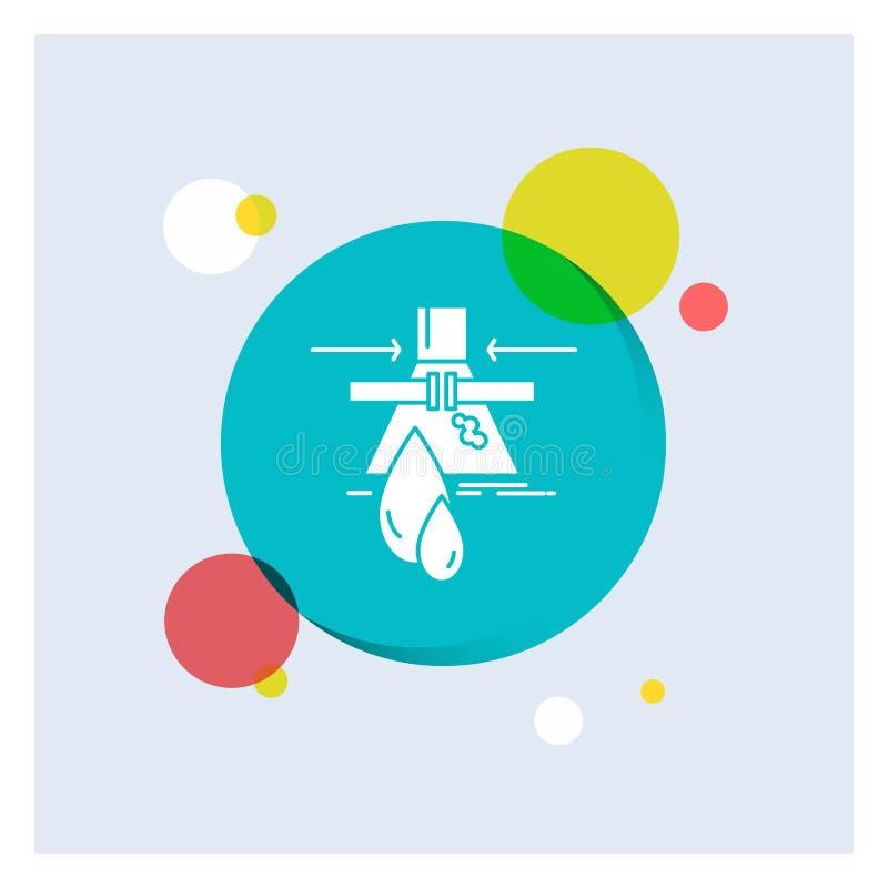 Chemikalie, Leck, Entdeckung, Fabrik, Verschmutzung weiße Glyph-Ikonen-bunter Kreis-Hintergrund lizenzfreie abbildung