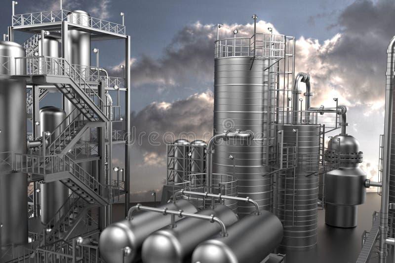 Chemikalien- und Schmierölfabrik vektor abbildung