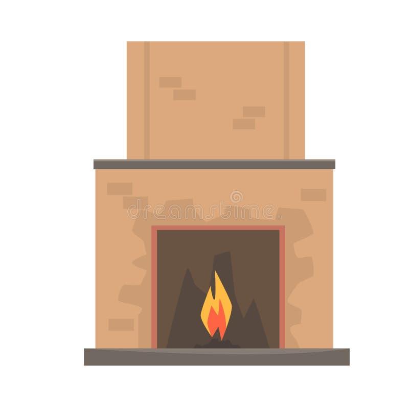 Cheminée à la maison avec l'illustration de vecteur du feu illustration de vecteur