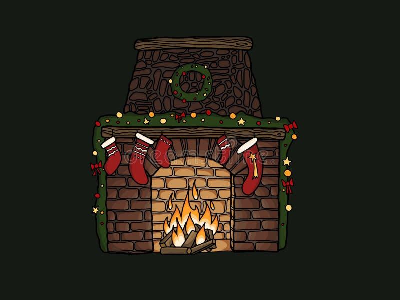 Cheminée élégante avec des bas de Noël, guirlande, ornements à illustration stock