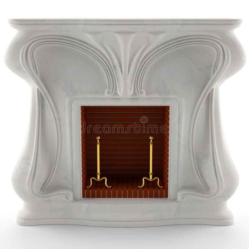 cheminée 3D de marbre blanche illustration libre de droits
