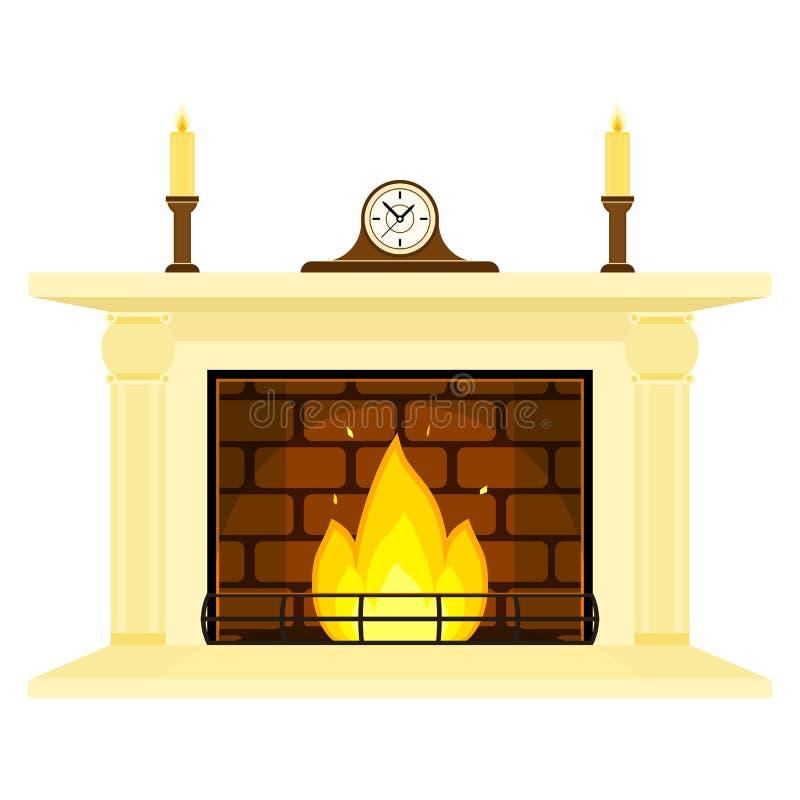 Cheminée avec l'horloge et bougies d'isolement illustration de vecteur