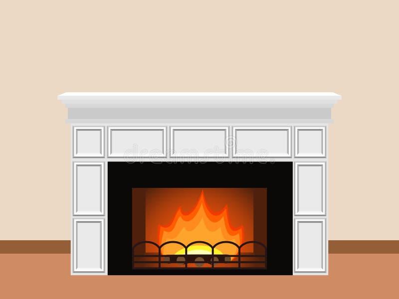 Cheminée avec le bois de chauffage illustration stock
