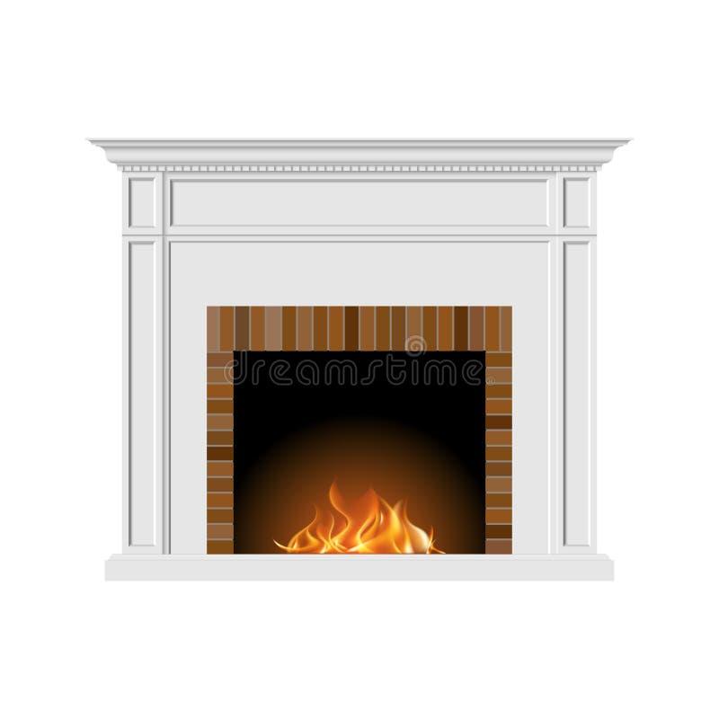 Cheminée avec le feu naturel et briques dans un style classique Élément de l'intérieur du salon Illustration de vecteur illustration de vecteur