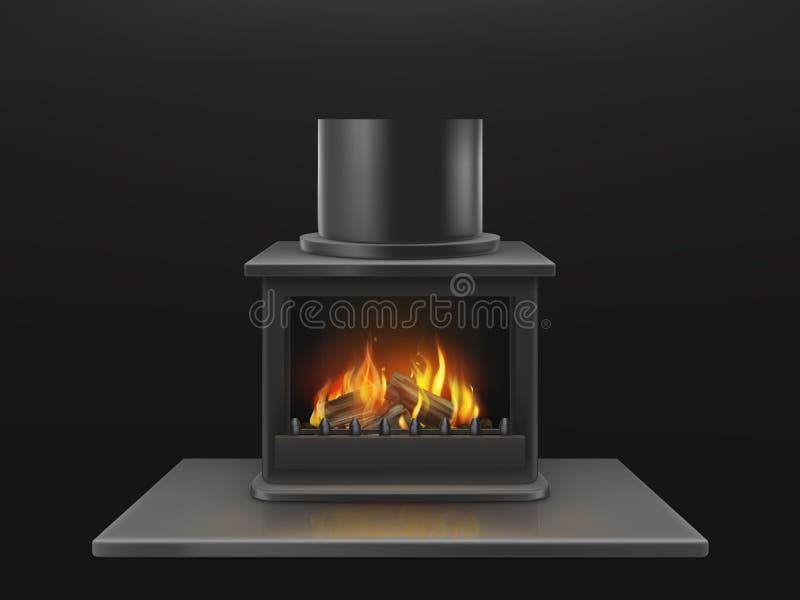 Cheminée avec le vecteur réaliste de bois de chauffage brûlant illustration libre de droits