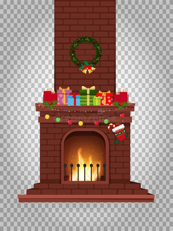 Cheminée brûlante décorée par bande dessinée avec beaucoup de cadeaux sur le clipart (images graphiques) illustration stock